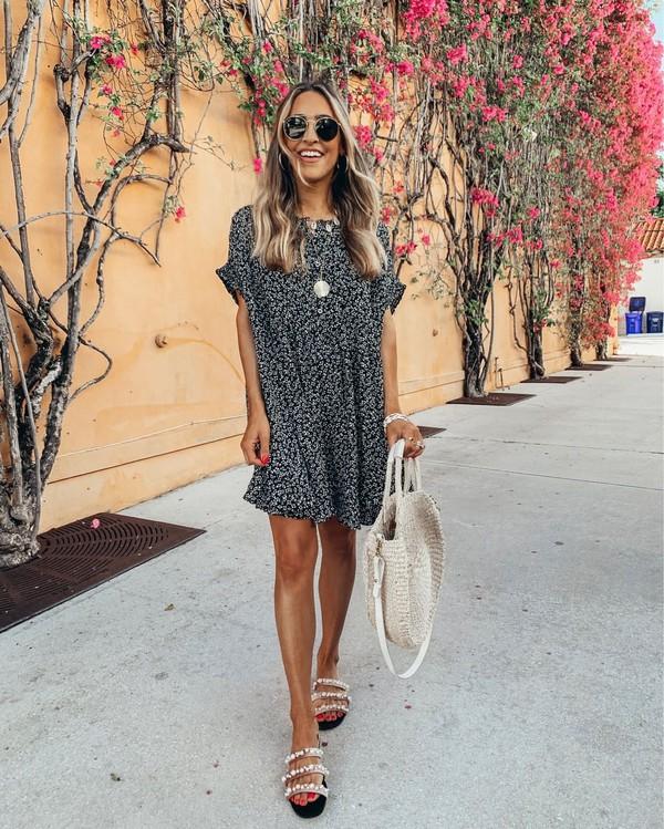 dress mini dress sandals white bag