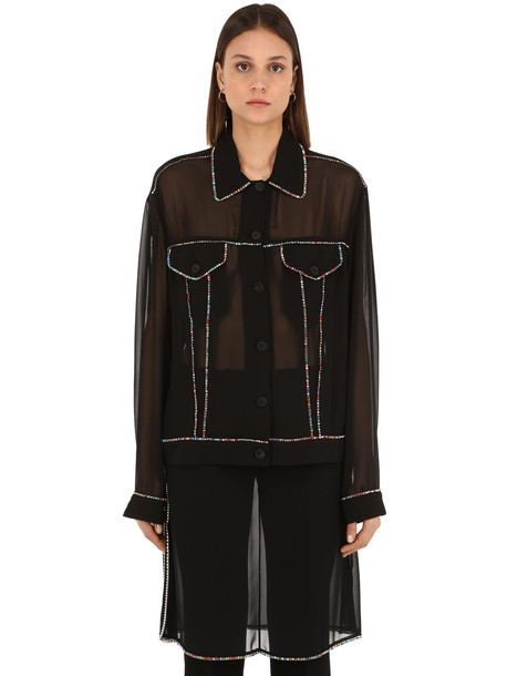 MARCO DE VINCENZO Embellished Crystal Georgette Shirt in black / multi