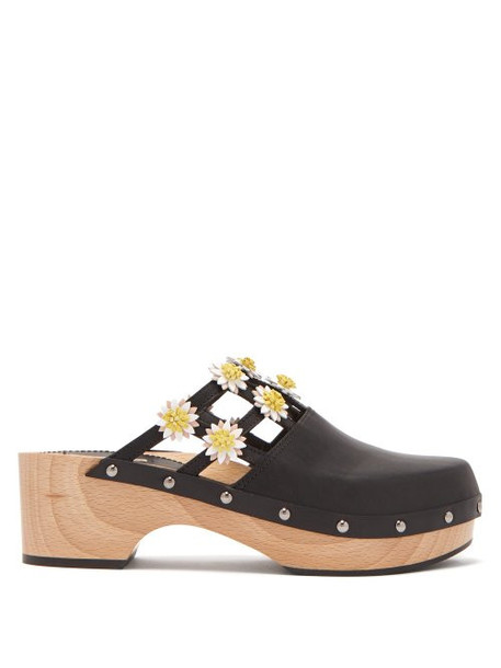 Fabrizio Viti - Jean Floral Appliqué Leather Clogs - Womens - Black White