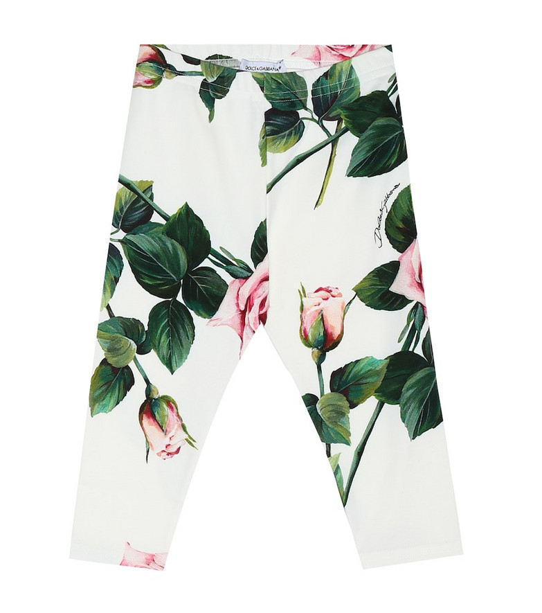 Dolce & Gabbana Kids Baby floral stretch-cotton leggings in white