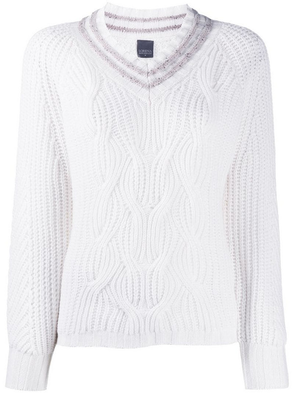 Lorena Antoniazzi cable knit v-neck jumper in white