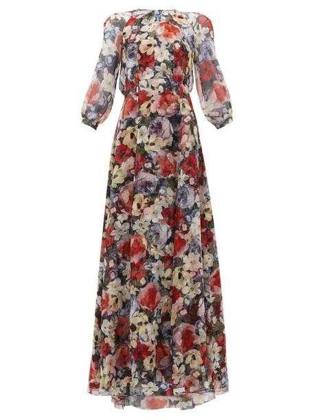 Erdem - Lamara Poppy Collage-print Silk Gown - Womens - Black Multi