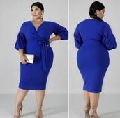 dress,blue,plus-size,bodycon,plus size dress,wrap dress,bodycon dress,long sleeves,long sleeve dress