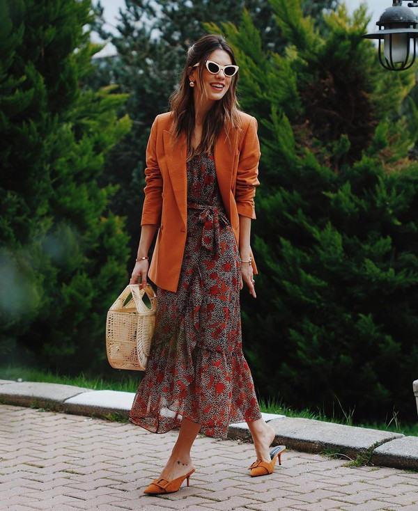dress maxi dress floral dress mango mules blazer handbag