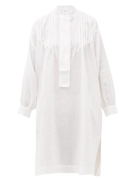 Ephemera - Bow-neck Linen Midi Dress - Womens - Ivory