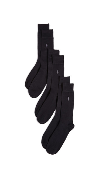 Polo Ralph Lauren 3 Pack Supersoft Flat Knit Socks in black