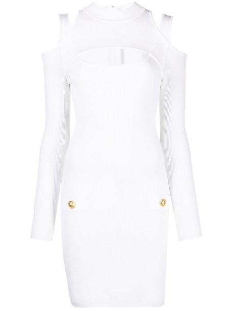 Balmain cut-out rib-knit dress in white