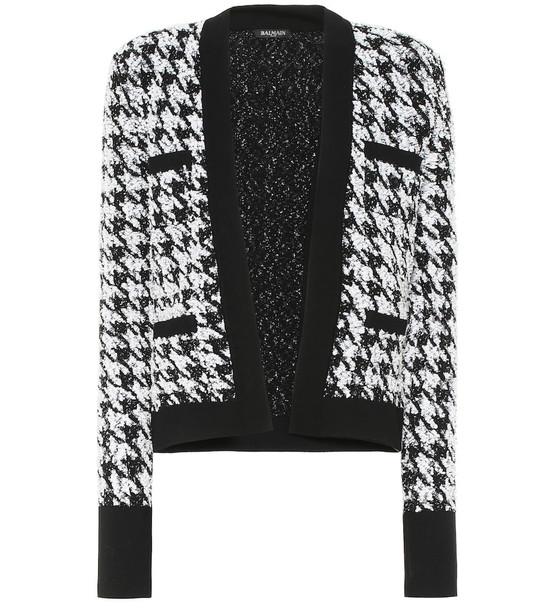 Balmain Houndstooth tweed jacket in black