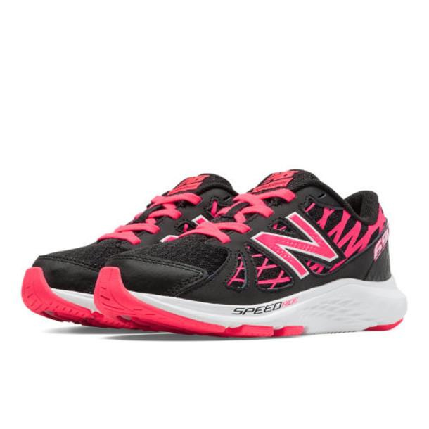 New Balance 690v4 Kids Grade School Running Shoes - Black, Bubble Gum Pink (KJ690PBY)