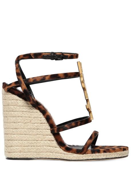 SAINT LAURENT 105mm Cassandra Logo Ponyskin Wedges in leopard