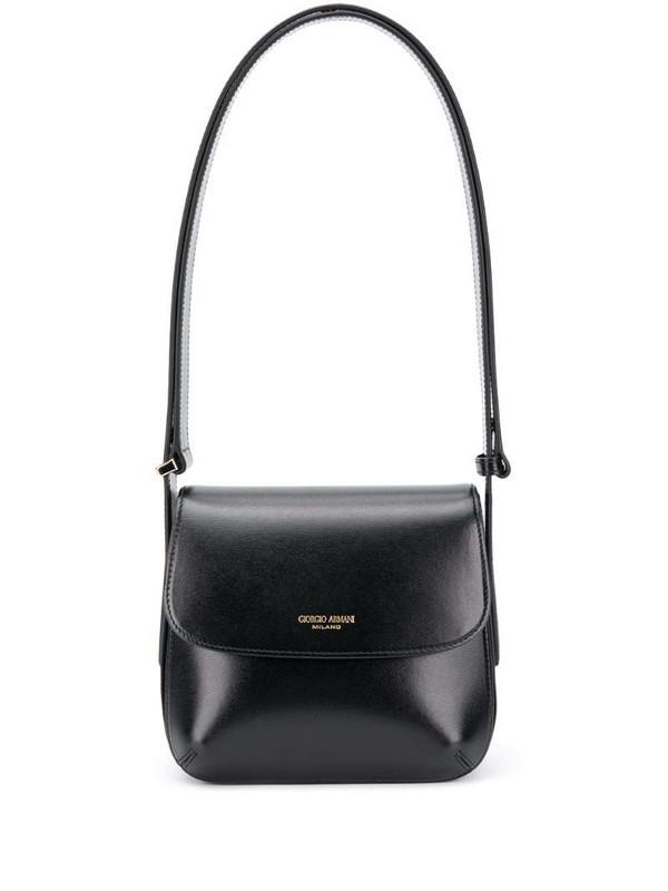 Giorgio Armani logo stamp shoulder bag in black