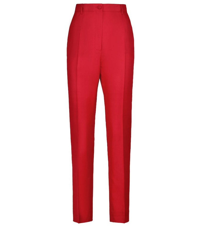 Dolce & Gabbana Silk and cotton-blend pleated pants in red