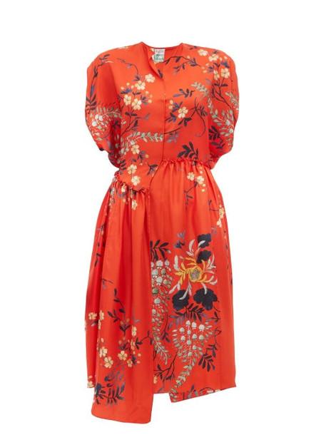 By Walid - Aida Floral Print Silk Satin Dress - Womens - Red Multi