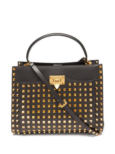 Valentino Garavani - Alcove Rockstud Saffiano-leather Bag - Womens - Black Gold
