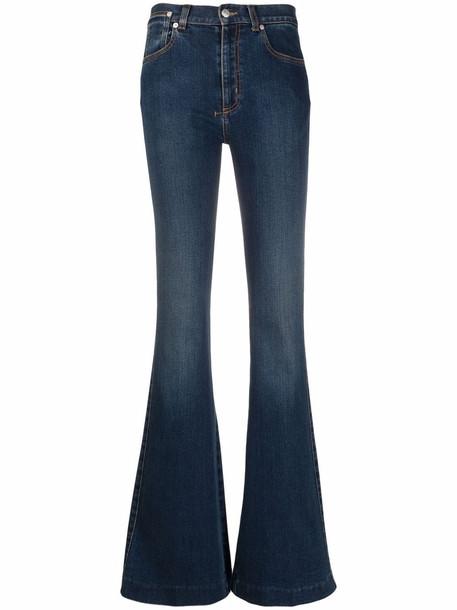 Alexander McQueen mid-rise flared-leg denim jeans - Blue