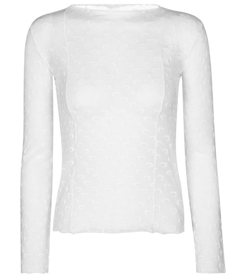 Marine Serre Exclusive to Mytheresa – Jacquard stretch-jersey top in white