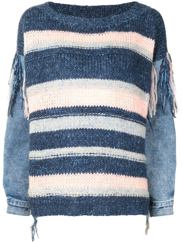 Twin-Set contrast panel striped jumper in blue