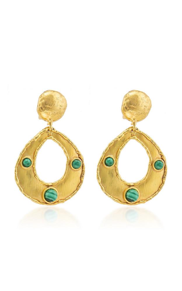 Sylvia Toledano Thalita 22K Gold-Plated Brass Malachite Earrings in green