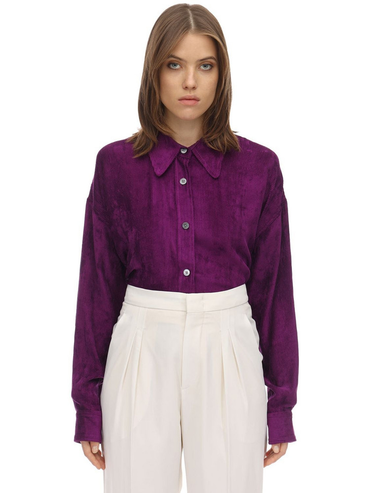 ISABEL MARANT Fanao Viscose Velvet Shirt in purple