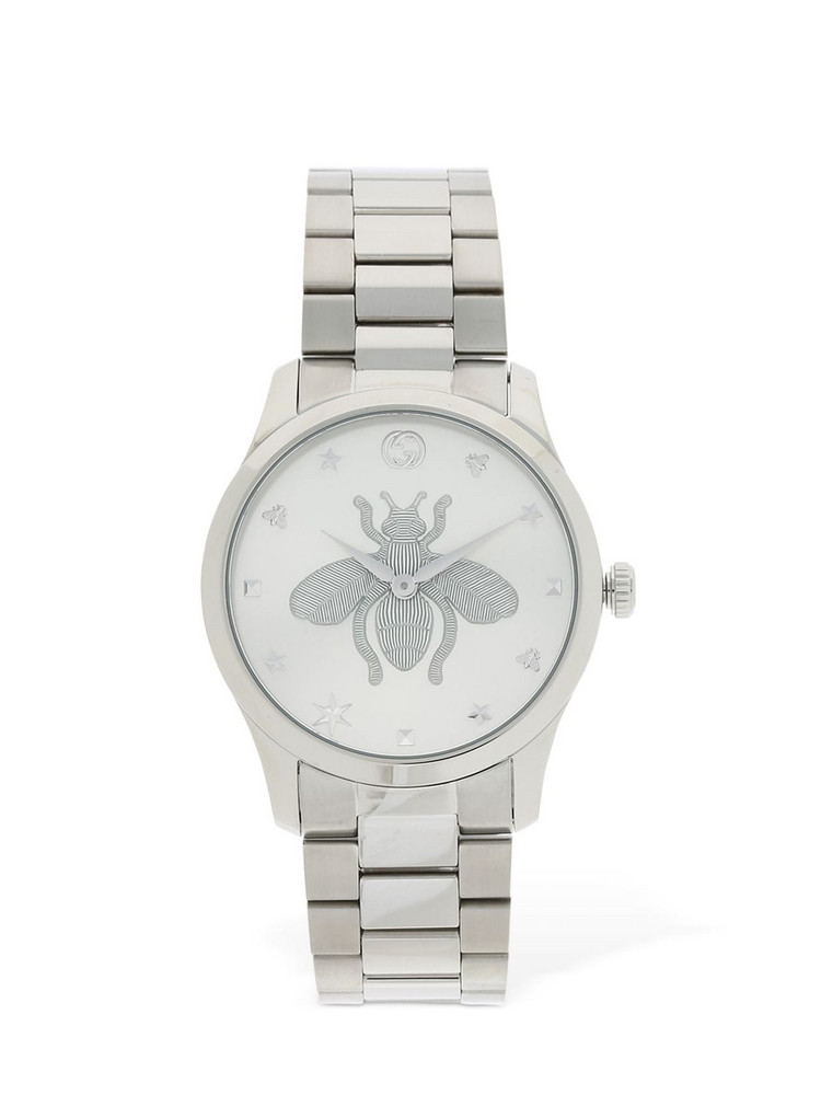 GUCCI 38mm G Timeless Bee Motif Watch in silver