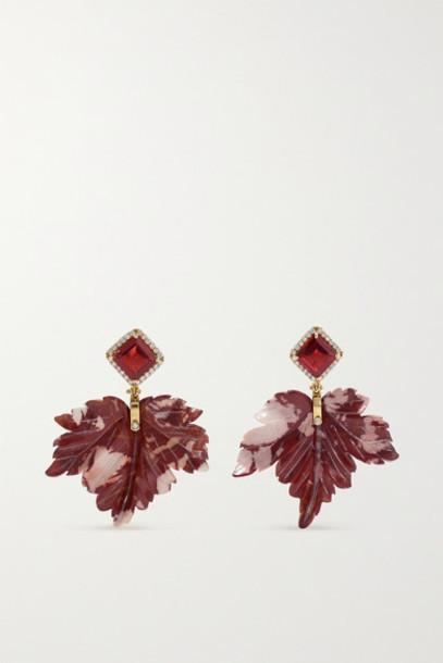 Casa Castro - 18-karat Gold Multi-stone Earrings - Burgundy