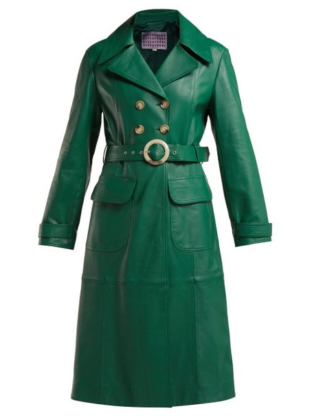 Alexachung - Double Breasted Belted Leather Trench Coat - Womens - Green