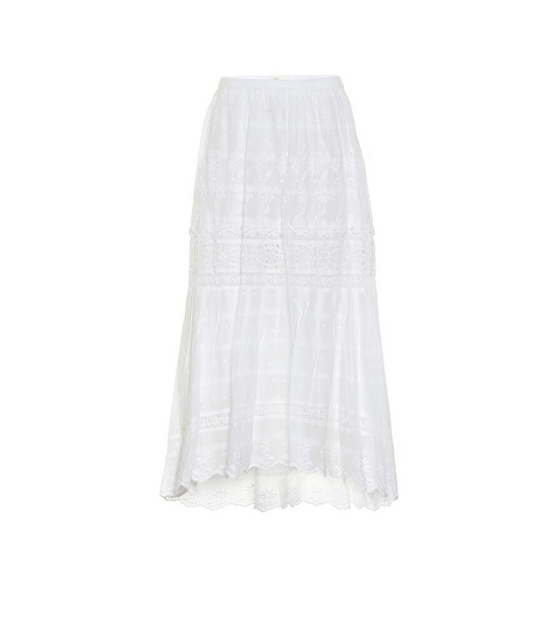 LoveShackFancy Zinnia high-rise cotton midi skirt in white