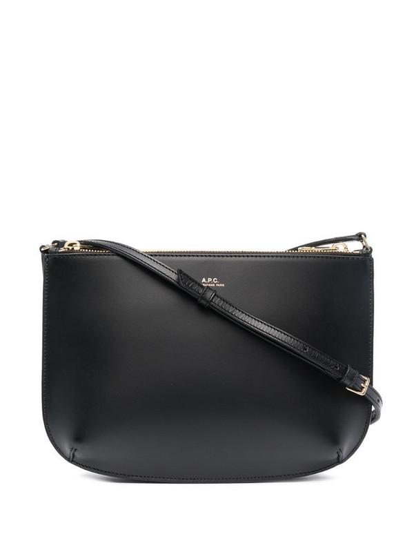 A.P.C. logo-print leather shoulder bag in black