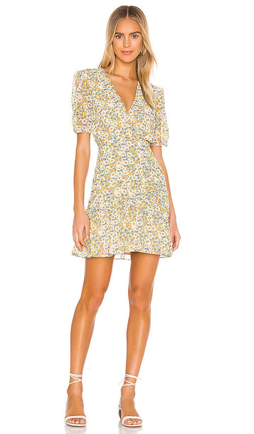 ASTR the Label Lucky Me Dress in Yellow in blue / mustard