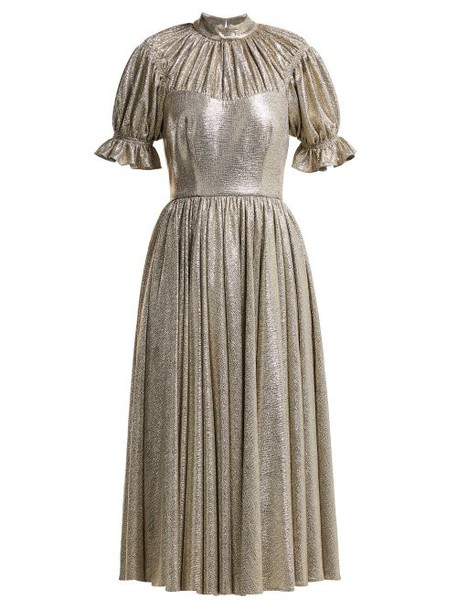 Emilia Wickstead - Benito Metallic Gathered Midi Dress - Womens - Silver