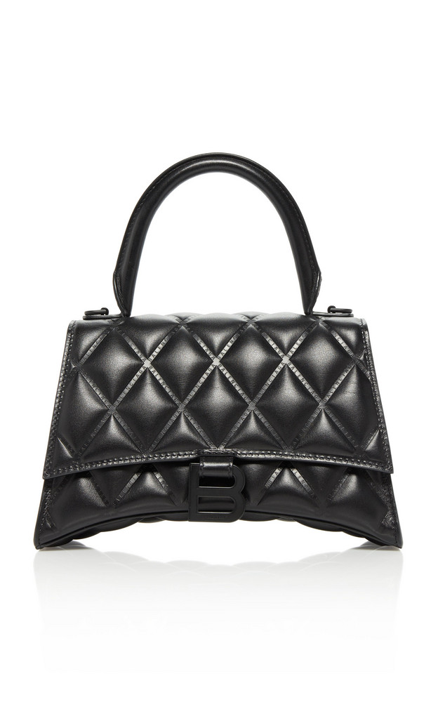 Balenciaga Hourglass Embellished Quilted-Leather Top Handle Bag in black