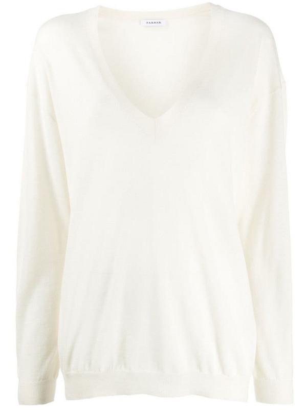 P.A.R.O.S.H. cashmere V-neck jumper in white