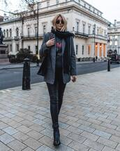 jacket,oversized blazer,grey blazer,black boots,ankle boots,black pants,skinny pants,leather pants,scarf,black bag,shoulder bag,black t-shirt