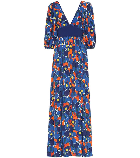 Staud Affogato printed maxi dress in blue