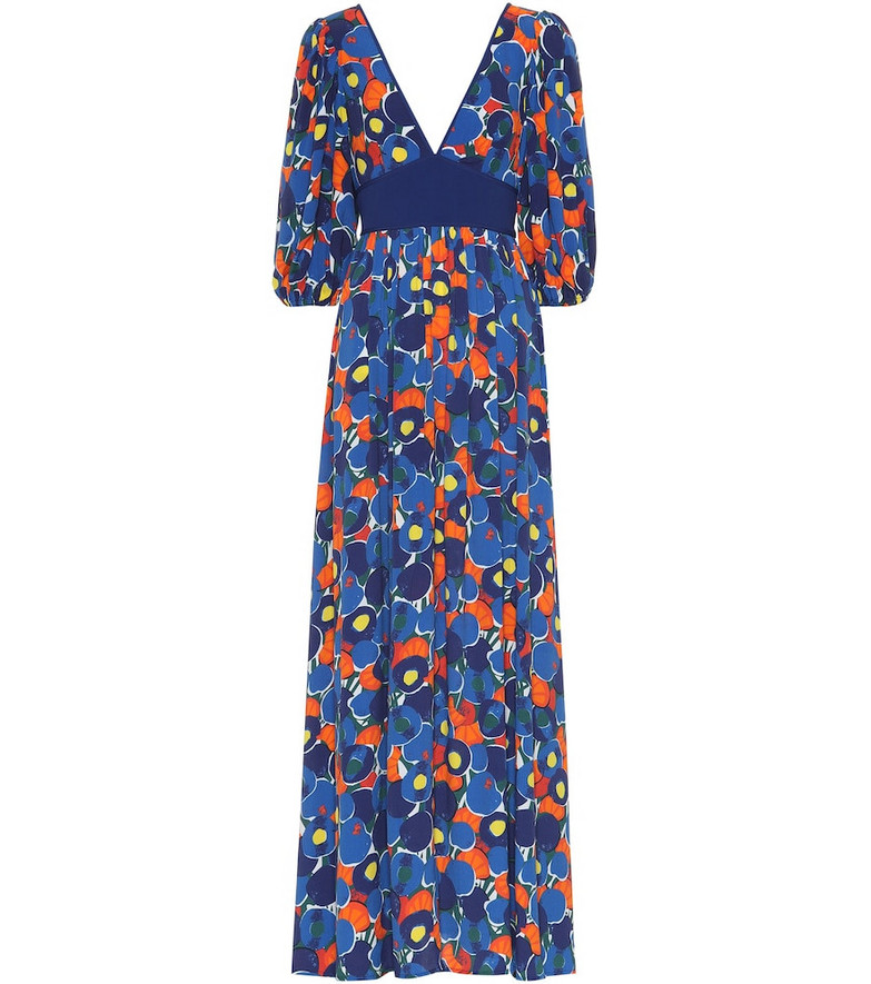 Staud Affogato printed maxi dress in blue