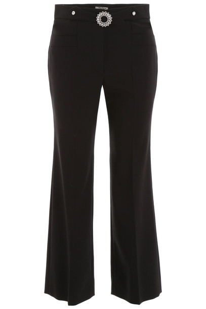 Miu Miu Trousers With Crystal Buckle in black