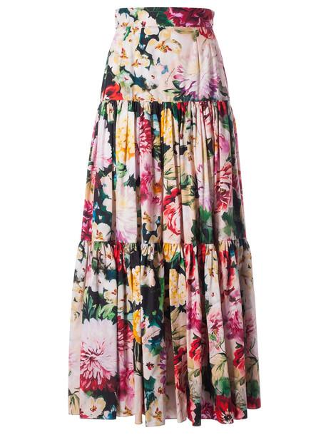 Dolce & Gabbana Floral Skirt in nero