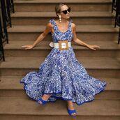 dress,maxi dress,sleeveless dress,floral dress,blue dress,sandals,belt,free people,earrings,sunglasses