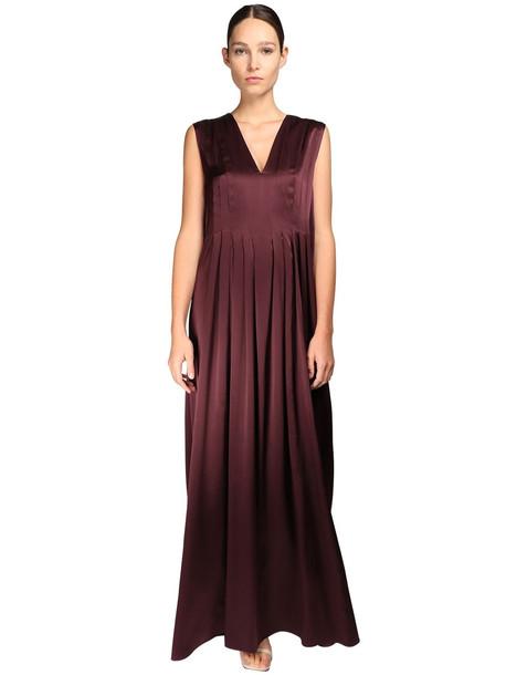 NYNNE Silk Satin Maxi Dress in purple