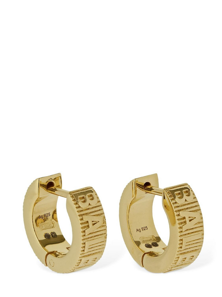 BALENCIAGA Force Striped Logo Hoop Earrings in gold