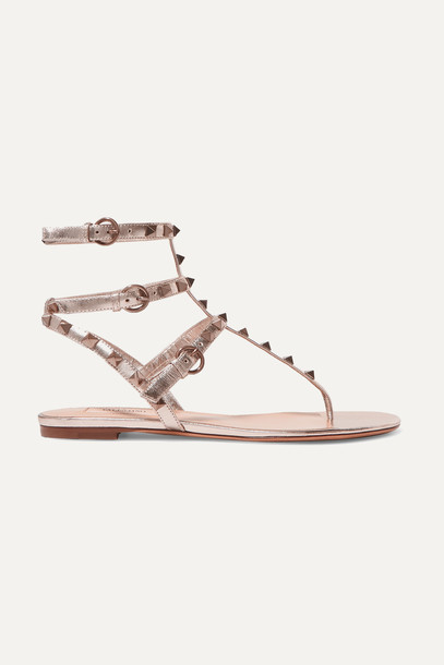 VALENTINO - Valentino Garavani Rockstud Metallic Leather Sandals - Gold