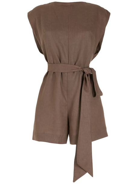 PIU BRAND belted linen playsuit - Brown