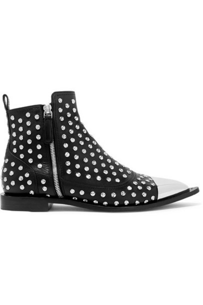 Alexander McQueen - Metal-trimmed Studded Leather Ankle Boots - Black