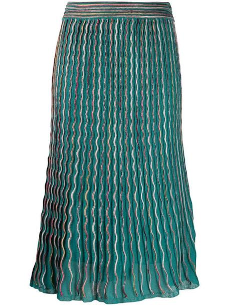 M Missoni high waisted zig-zag skirt in green