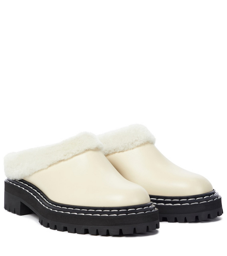 Proenza Schouler Shearling lined leather mules in white