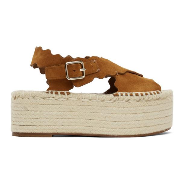 Chloe Tan Suede Espadrilles Flat Sandals