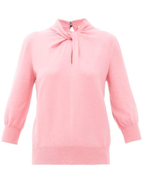 Erdem - Rumer Twisted-neckline Cashmere-blend Sweater - Womens - Pink