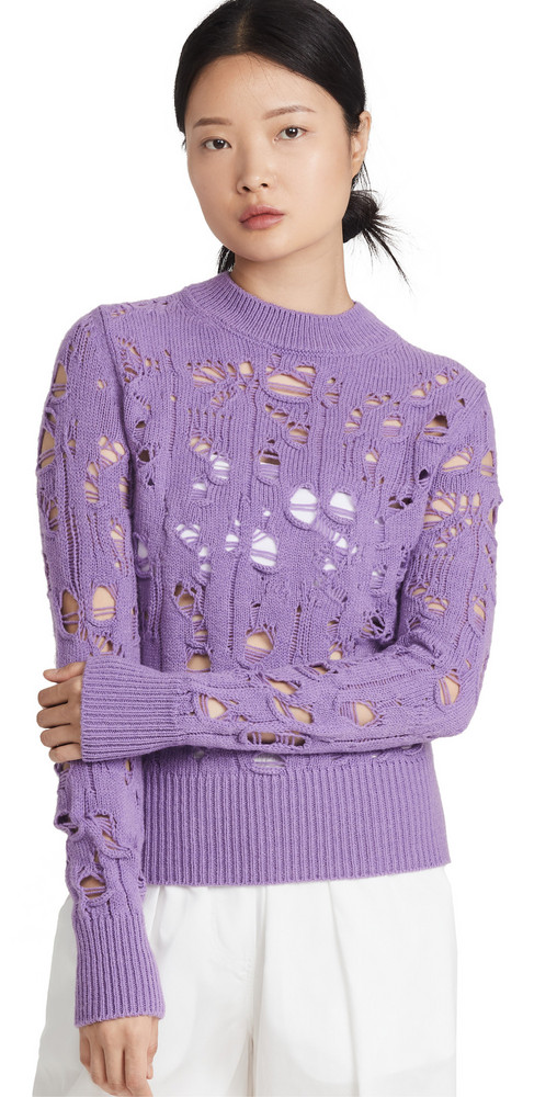 MSGM Distressed Sweater in lilac
