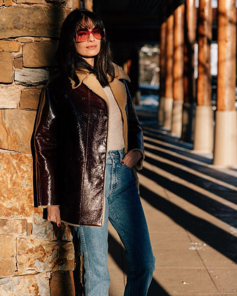 coat sunglasses sweater