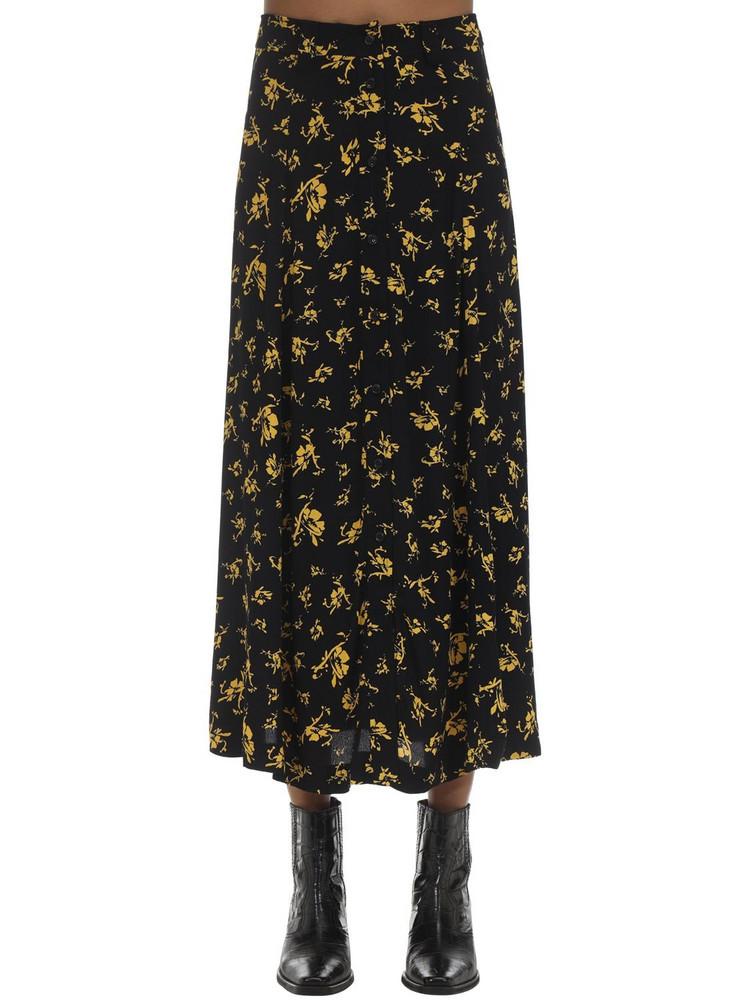 GANNI Printed Crepe Midi Skirt in black / yellow